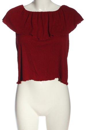 Pull & Bear Bluzka typu carmen czerwony W stylu casual