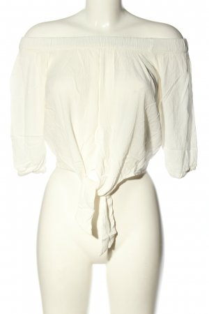 Pull & Bear Bluzka typu carmen biały W stylu casual