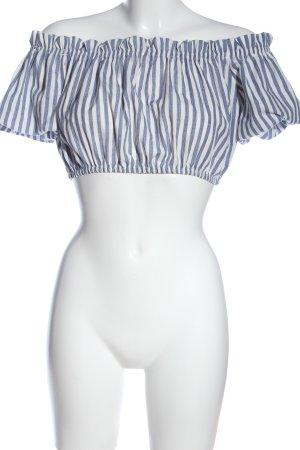 Pull & Bear Carmen-Bluse blau-weiß Streifenmuster Casual-Look