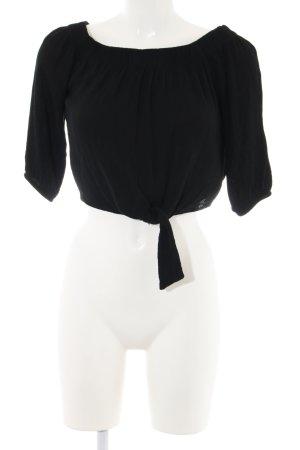 Pull & Bear Carmen blouse zwart casual uitstraling