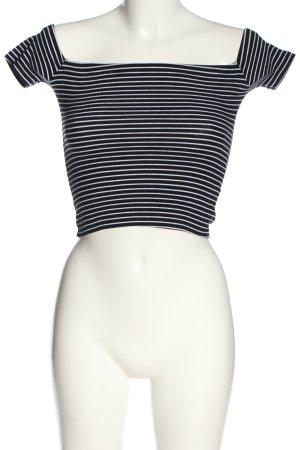 Pull & Bear Top épaules dénudées noir-blanc motif rayé style décontracté