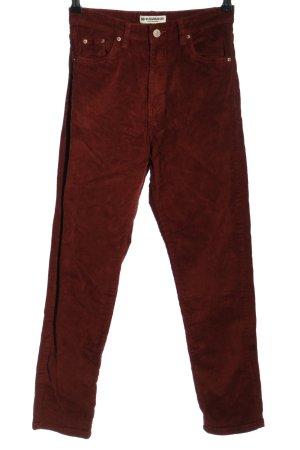 Pull & Bear Pantalone di velluto a coste marrone-rosso scuro Tessuto misto