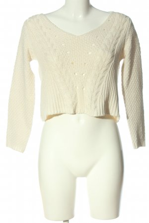 Pull & Bear Cropped Pullover creme Zopfmuster Casual-Look
