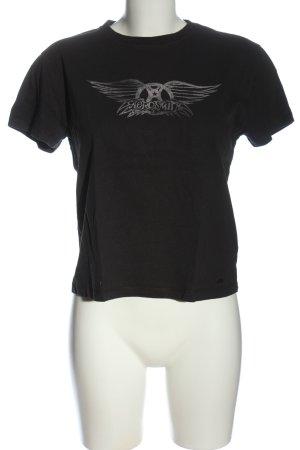 Pull & Bear Cropped Shirt black-light grey themed print casual look