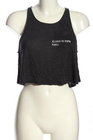 Pull & Bear Cropped Shirt schwarz-weiß Schriftzug gedruckt Casual-Look