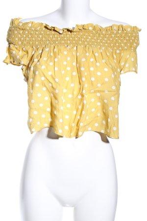 Pull & Bear Camicia cropped giallo pallido-bianco motivo a pallini stile casual