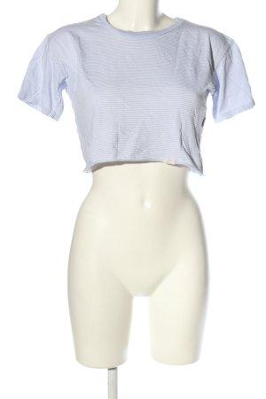 Pull & Bear Cropped Shirt hellgrau-weiß Streifenmuster Casual-Look