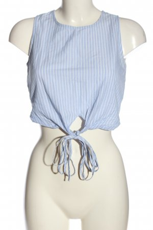 Pull & Bear Cropped Top blue-white striped pattern casual look