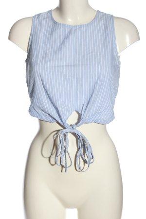 Pull & Bear Cropped Top blau-weiß Streifenmuster Casual-Look