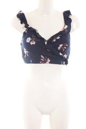Pull & Bear Cropped Top blau-weiß Blumenmuster Casual-Look