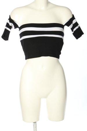 Pull & Bear Top recortado negro-blanco estampado a rayas look casual