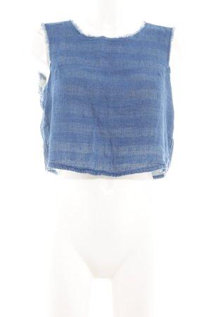 Pull & Bear Cropped Top blau Streifenmuster Casual-Look