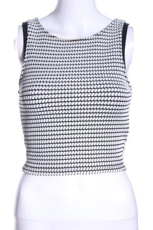 Pull & Bear Top corto bianco-nero stampa integrale elegante