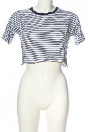 Pull & Bear Cropped Top white-blue striped pattern casual look
