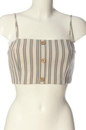 Pull & Bear Top recortado blanco puro-negro estampado a rayas look casual