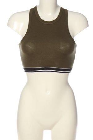 Pull & Bear Cropped Top khaki-schwarz Casual-Look