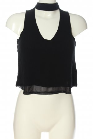 Pull & Bear Top o skróconym kroju czarny W stylu casual