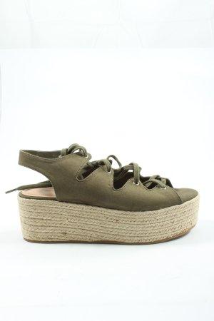 Pull & Bear Platform High-Heeled Sandal cream-khaki casual look
