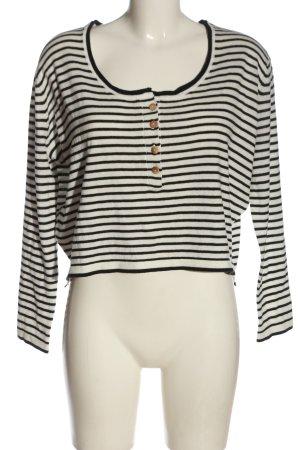 Pull & Bear Pull en maille fine blanc-noir motif rayé style décontracté
