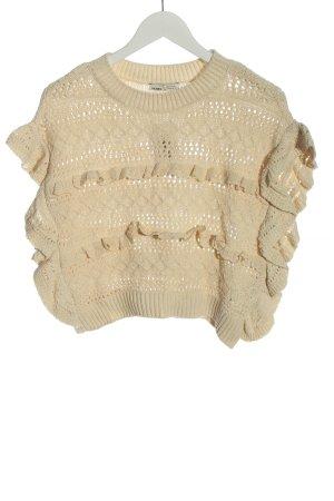 Pull & Bear Sweter bez rękawów z cienkiej dzianiny w kolorze białej wełny