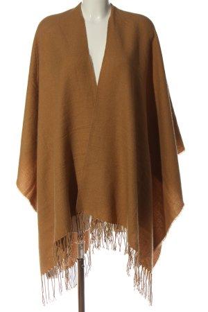 Pull & Bear Ponczo z dzianiny brązowy W stylu casual