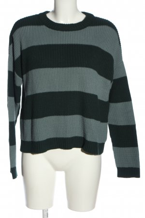 Pull & Bear Crochet Sweater light grey-black striped pattern casual look