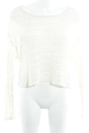 Pull & Bear Jersey de ganchillo crema look casual