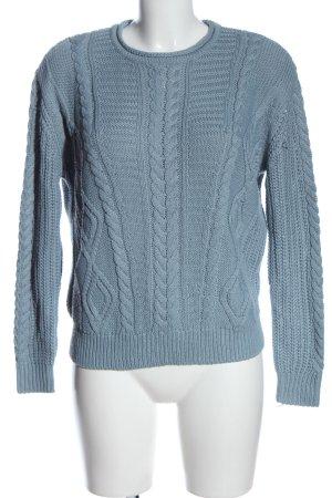 Pull & Bear Häkelpullover blau Zopfmuster Casual-Look