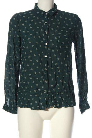 Pull & Bear Hemd-Bluse grün-wollweiß Allover-Druck Casual-Look