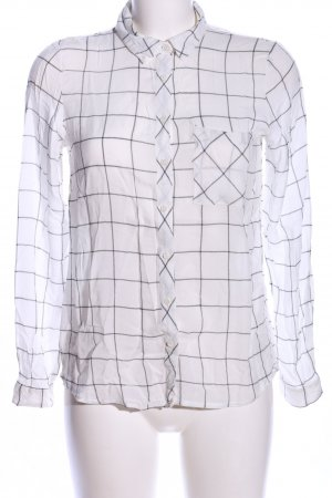 Pull & Bear Hemd-Bluse weiß-schwarz Karomuster Business-Look