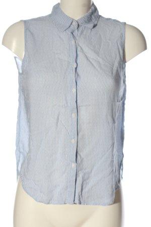Pull & Bear Hemd-Bluse weiß-blau Streifenmuster Casual-Look