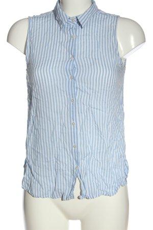 Pull & Bear Hemd-Bluse weiß-blau Streifenmuster Elegant