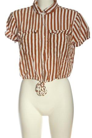 Pull & Bear Hemd-Bluse weiß-braun Streifenmuster Casual-Look