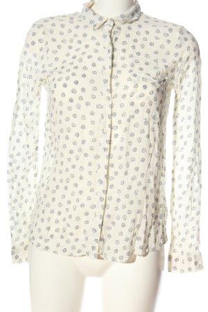 Pull & Bear Hemd-Bluse wollweiß-schwarz Allover-Druck Casual-Look