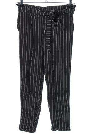 Pull & Bear High-Waist Hose schwarz-weiß Streifenmuster Casual-Look