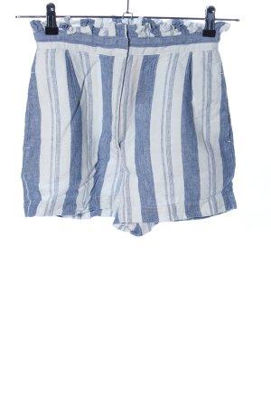 Pull & Bear High-Waist-Shorts blau-weiß Streifenmuster Casual-Look