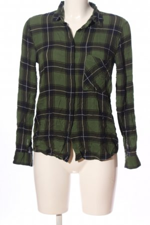 Pull & Bear Holzfällerhemd khaki-schwarz Allover-Druck Casual-Look