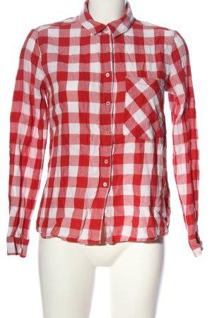 Pull & Bear Holzfällerhemd rot-weiß Allover-Druck Casual-Look