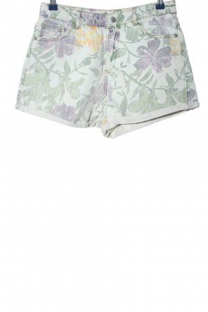 Pull & Bear Hot Pants grün-lila Allover-Druck Casual-Look