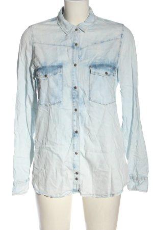 Pull & Bear Jeanshemd blau-weiß Casual-Look