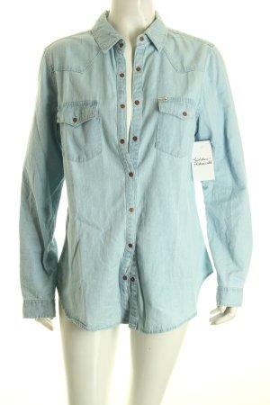 Pull & Bear Jeansowa koszula jasnoniebieski Prosty styl