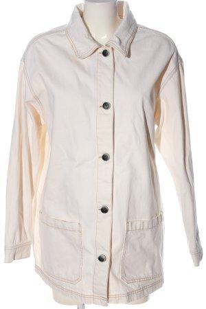 Pull & Bear Jeansowa kurtka w kolorze białej wełny W stylu casual