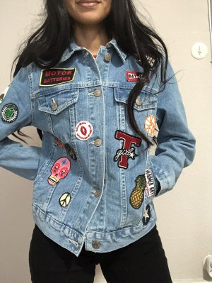 Pull&bear Jeansjacke multiple patches vintage-look Gr.S
