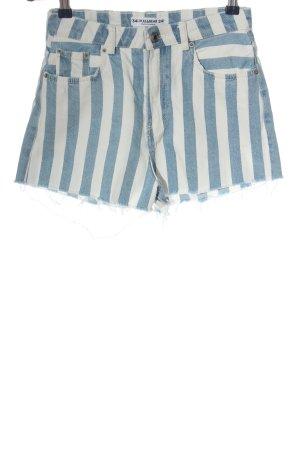Pull & Bear Pantalón corto de tela vaquera azul-blanco estampado a rayas