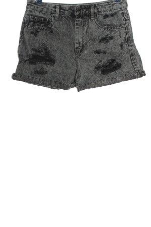 Pull & Bear Jeansshorts hellgrau-schwarz meliert Casual-Look