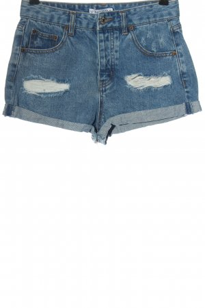 Pull & Bear Pantalón corto de tela vaquera azul look casual