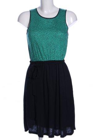 Pull & Bear Jerseykleid schwarz-türkis Punktemuster Casual-Look