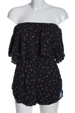 Pull & Bear Jumpsuit schwarz-pink Allover-Druck Casual-Look