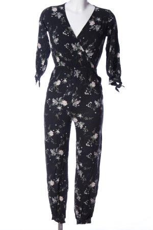 Pull & Bear Jumpsuit schwarz-weiß Allover-Druck Casual-Look