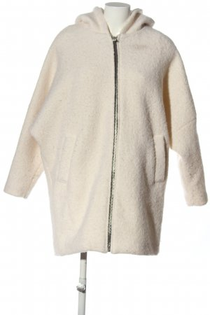 Pull & Bear Hooded Coat cream casual look